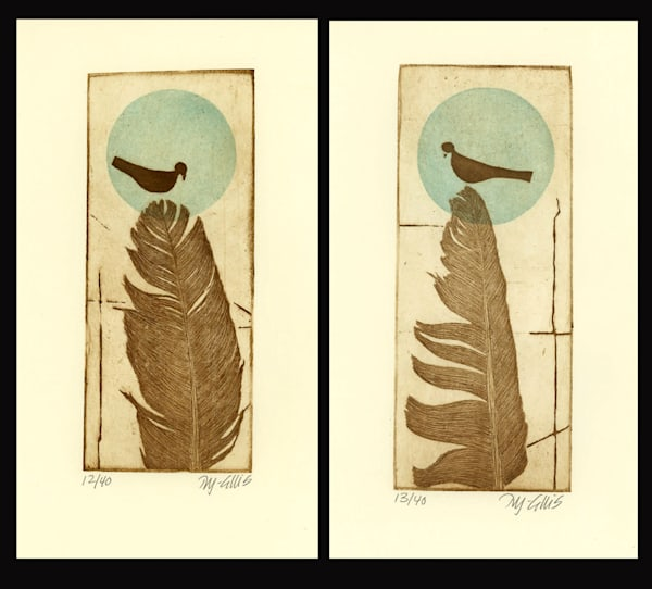 Birds of a Feather - pair of small aquatint and softground etchings