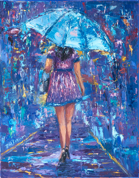 Under My Blue Umbrella Iii Art | Pamela Ramey Tatum Fine Art