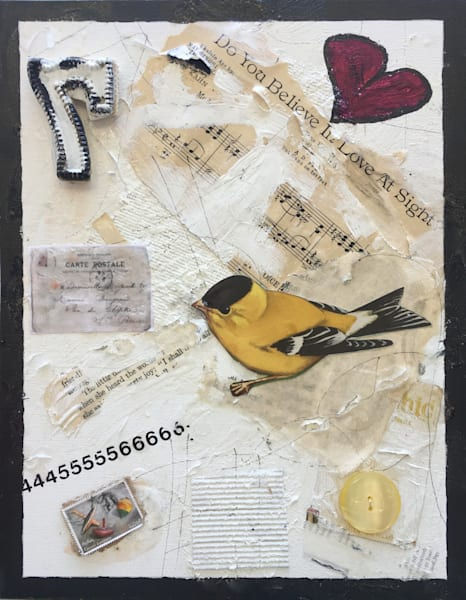 Love At First Sight original mixed media art collage