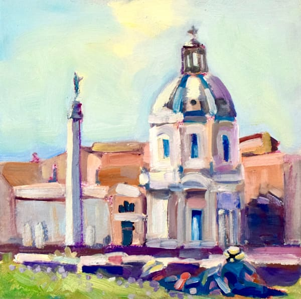"Original oil painting on location in Rome, Italy.Beautiful Tuscan plein air painting of Rome with a romantic couple relaxing by the Forum measures 8""x8"" oil on wood."