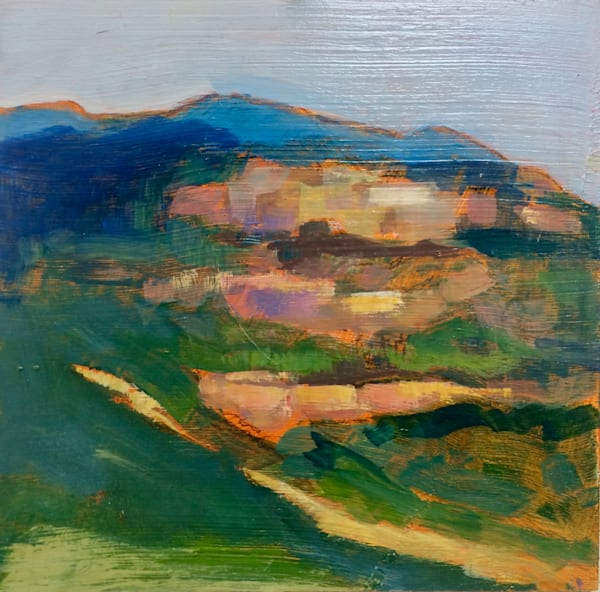 """""""Tuscany Orvieto View"""",8""""x8"""", oil on wood panel framed with white floater frame"""