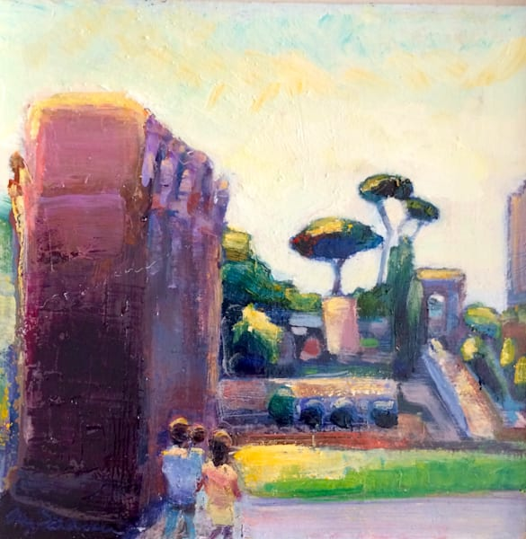 "Beautiful Tuscan plein air painting across from Rome's Coliseum of Constantine's Arch. This painting measures 8""x8"" oil on wood."