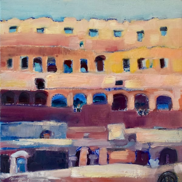 "This oil painting was painted on location in Tuscany in Italy. This beautiful Tuscan plein air painting of Rome's Coliseum is 8""x8"" oil on wood panel framed with white floater frame."