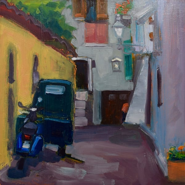 """Painted on location in Tuscany in Italy. This beautiful Tuscan plein air painting of a gorgeous """"Orvieto Alley View With Green Truck and Blue Motorcycle"""", 12""""x12"""", oil on wood panel framed with white floater frame."""