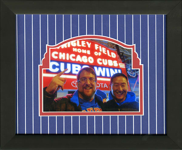 Chicago red and blue custom mat 5x7 photo frame