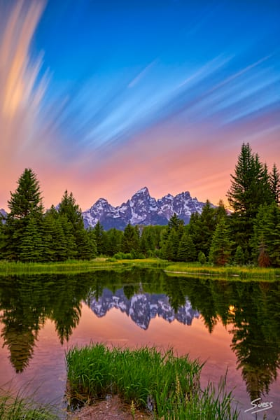 Streaking Clouds at Sunset at the Tetons - Grand Teton National Park