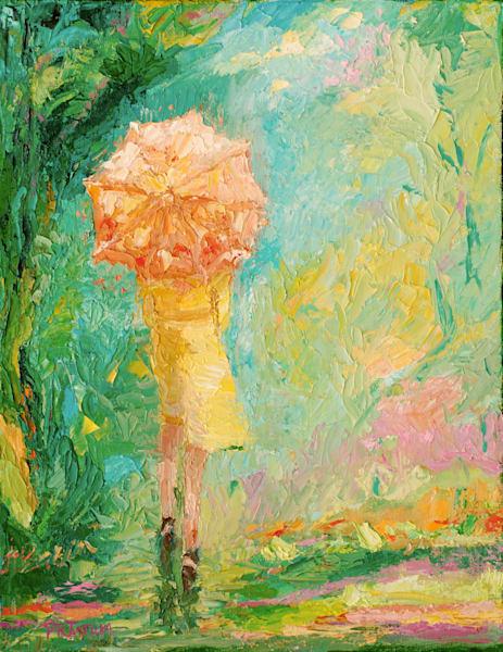 orange umbrella girl print