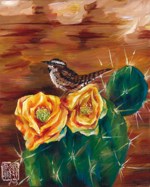 Cactus wren on prickly pear by Ans Taylor