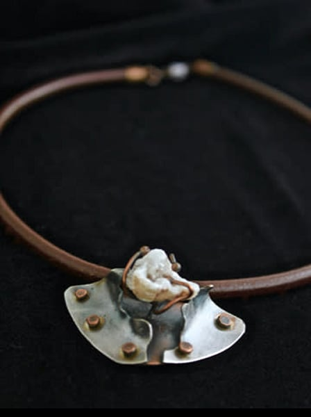 Sterling and riveted copper necklace