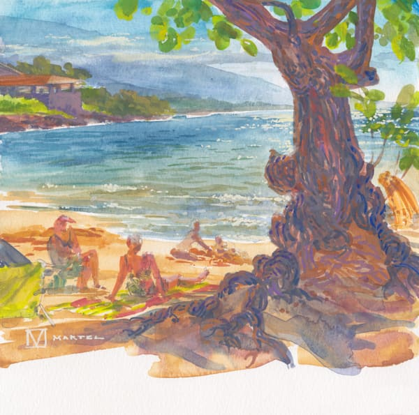Hawaii Watercolor Art | Sunday at Spencer by Mark Martel