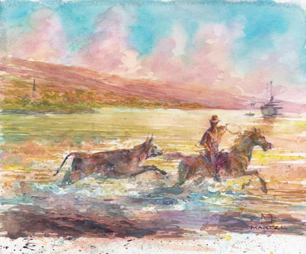 Hawaii Watercolor Art | Cattle Ship by Mark Martel