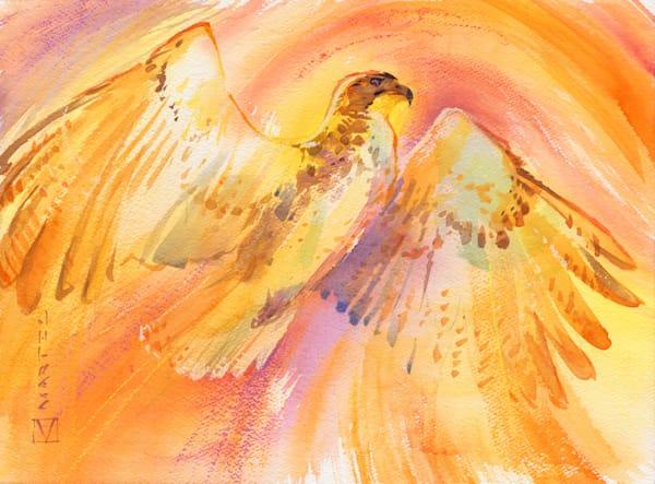 Mixed Media Art   Io Royal Hawk by Mark Martel