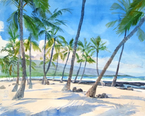 Hawaii Watercolor Art | Place of Refuge by Mark Martel