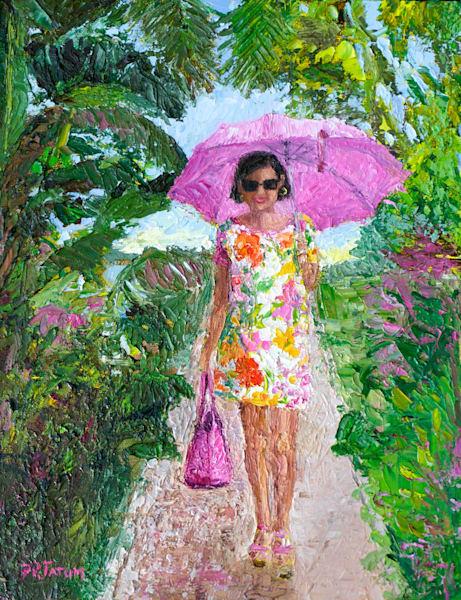 Susanna Under her Pink Umbrella