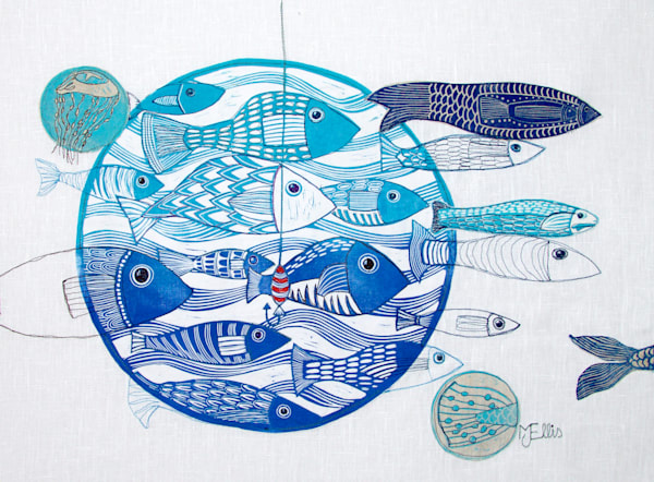 Sold - Hook Line and Sinker - linocut collage on fabric