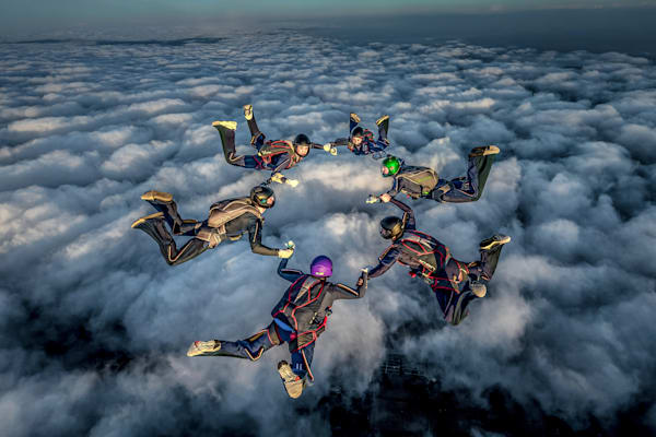 Skydiving Circle Collegiate Art | Roost Studios, Inc.