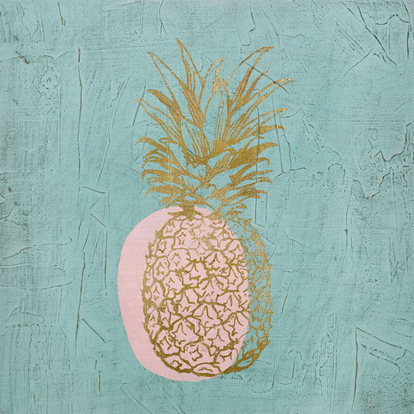 Golden Pineapple by Stefano Altamura Wrapped Canvas Art Print