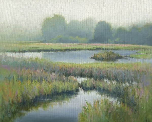 Morning at Edmund's Marsh by artist David Marty Wrapped Canvas Art Print