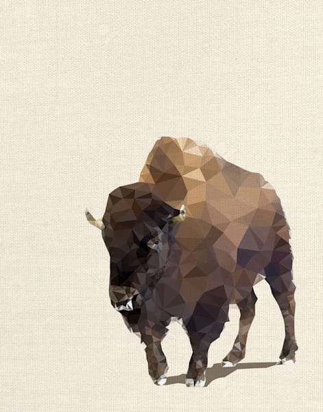 Fractal Bison Ivory by The Studio Wrapped Canvas Art Print