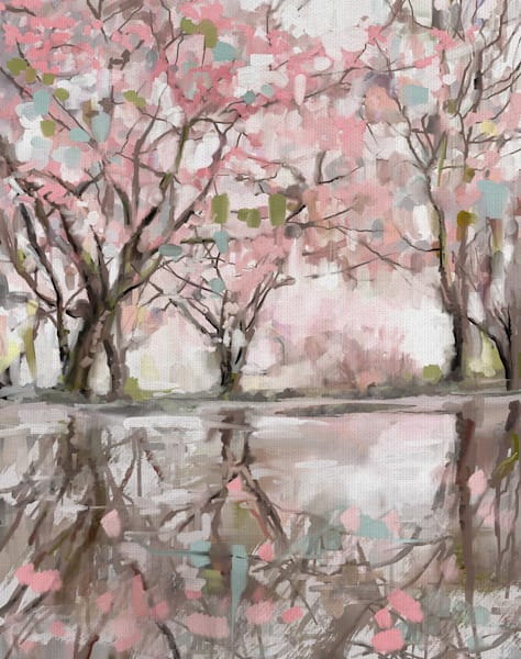 Pink Blossom Reflection by Studio Arts Wrapped Canvas Art Print