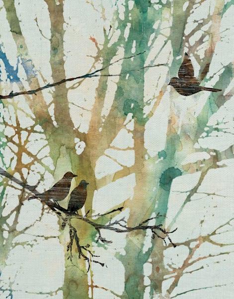 Botanical Birds I by artist Carol Robinson Wrapped Canvas Art Print
