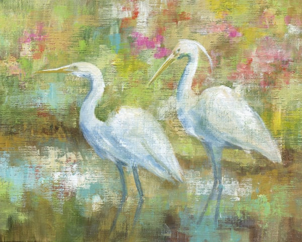 Egret Tapestry by Nan Wrapped Canvas Art Print