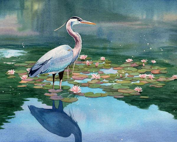 Lakeside Heron I by Lynnea Washburn Wrapped Canvas Art Print