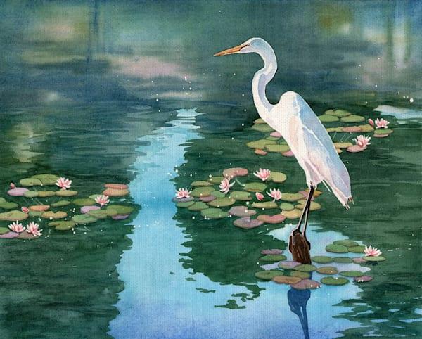 Lakeside Heron II by artist Lynnea Washburn Wrapped Canvas Art Print