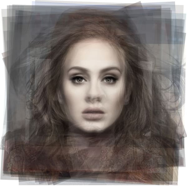 Overlay art - Adele portrait artwork for sale using photographs, by Toronto artist steve socha.