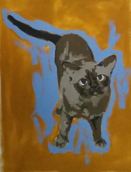 "Oil sketch by figurative oil painter Marie Hines Cowan, part of a series of cats, titled ""Oscar"""