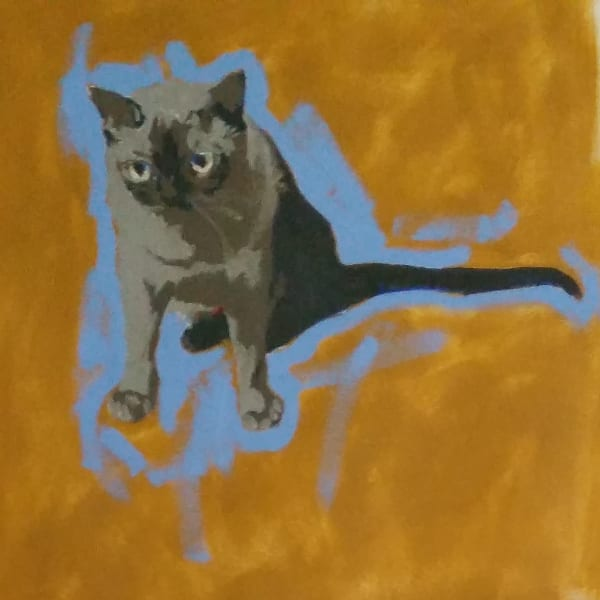 "Figurative oil painter Marie Hines Cowan's oil sketch, part of a series of cats, titled ""Thomas"""