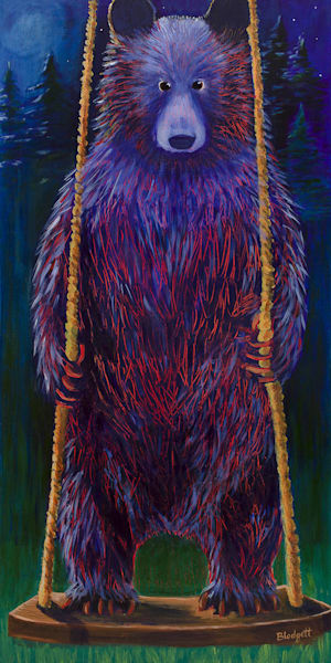 16x20 Bear On A Swing  Art   HFA print gallery