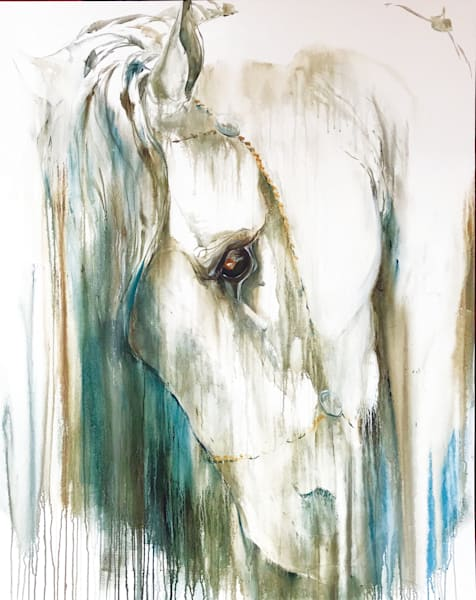 Ligereza Painting | White Horse | Tammy Tappan Artist