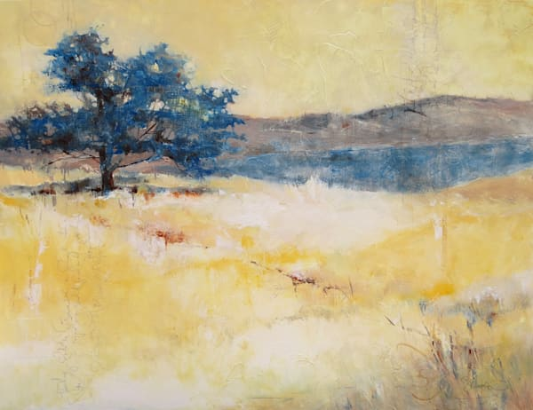 Finding Solitude, abstract landscape art and paintings on mixed media by Pacific Northwest Artist, Sarah B. Hansen