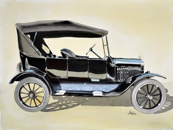 Model T Ford - Profile View, Watercolor
