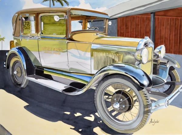 Classic Model A Ford - Watercolor - Edison Ford Winter Estates