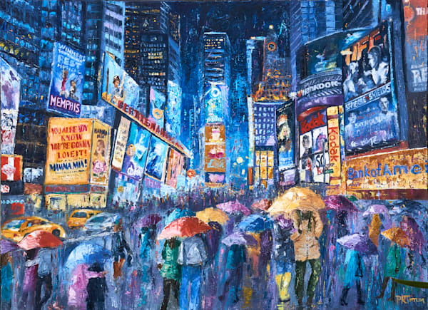 times-square, lovers, umbrella art