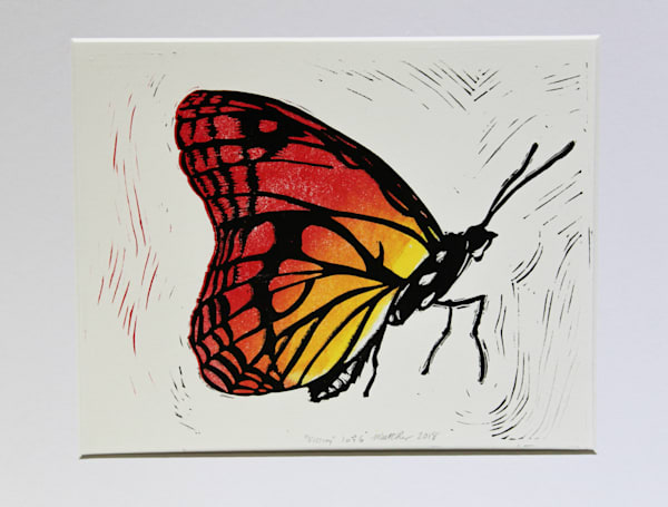 Viceroy Linocut Reduction Handmade Art Print Kentucky State Butterfly