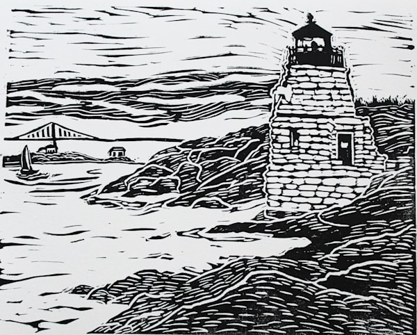 Castle Hill Lighthouse Linocut Print Newport  Rhode Island Wall Art