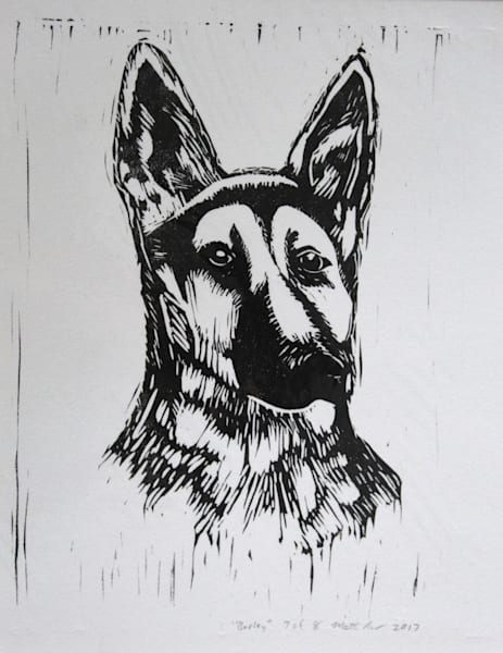 Barley Linocut Print German Shepherd Dog