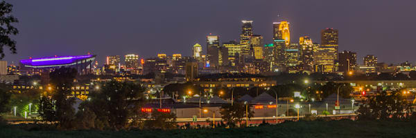 Purple Stadium - Minneapolis Skyline | William Drew