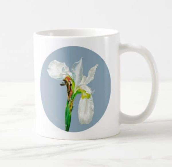 White Flag Iris on Blue Background 20 oz Mug