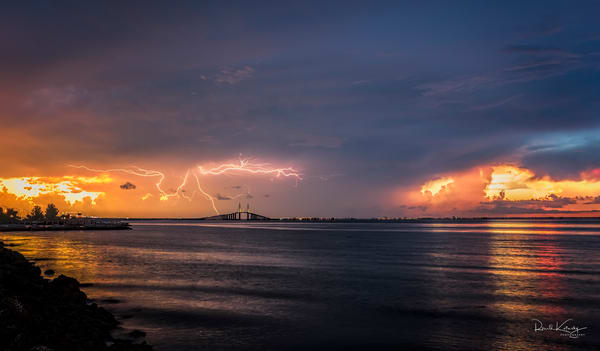 Sunshine Skyway Lightning Twilight Fine Art Photograph