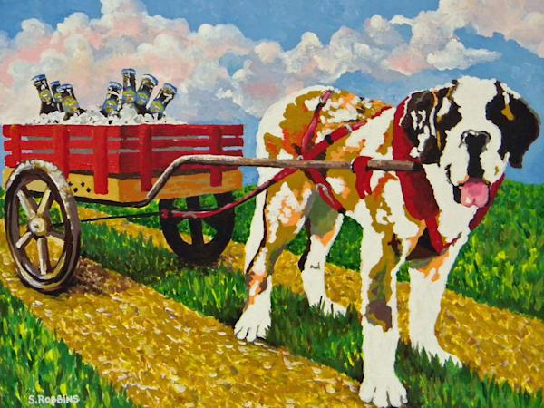 Saint Bernard pulling cart