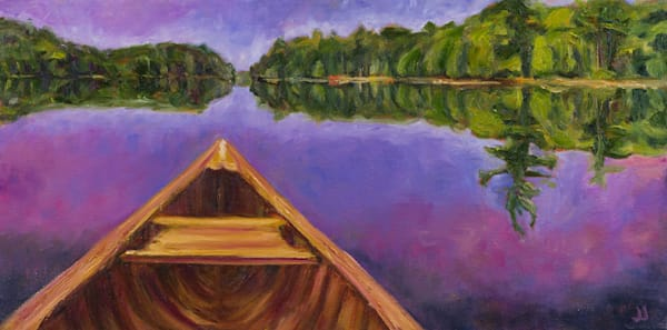 Morning Paddle - Prints of a painting by Janet Jardine, embodying the experience of taking a canoe out on a calm lake for a solo paddle in the early morning.