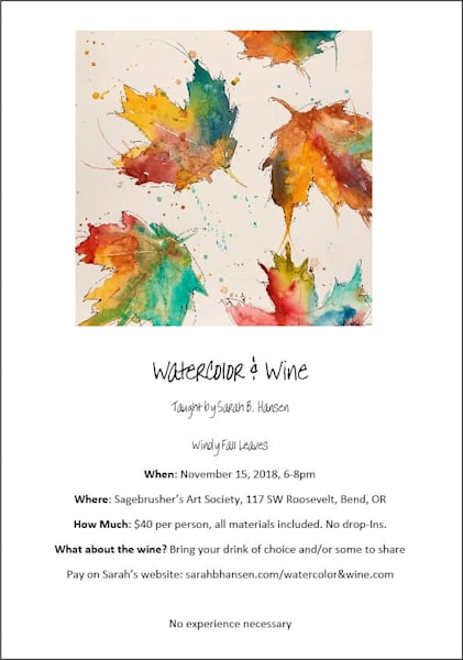 Watercolor & Wine  - Windy Leaves