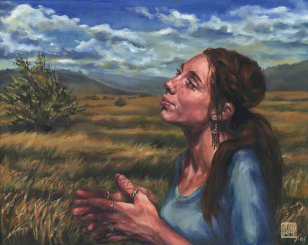 original art - Oil Painting of Annie in the central Arizona highland plains