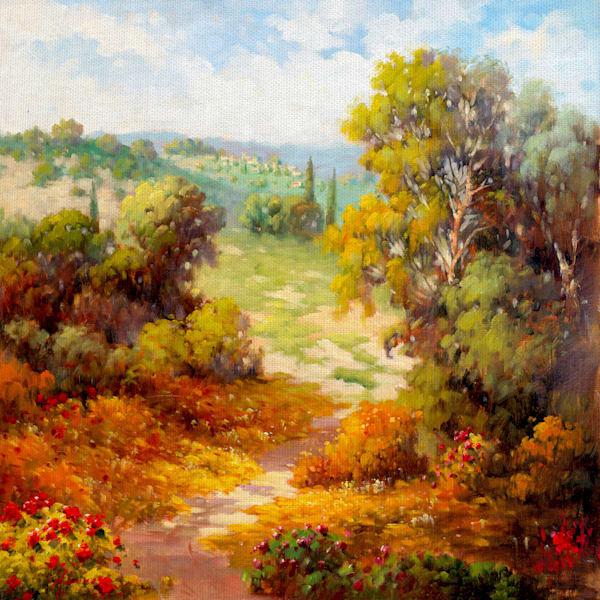 Autumn Path by artist Marino Wrapped Canvas Art Print