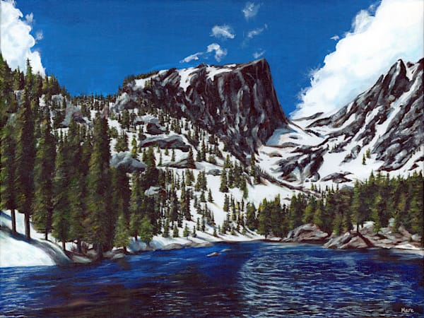 Original acrylic artwork of Dream Lake by artist Mary Anne Hjelmfelt