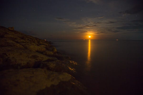 Yellow Moon Rising Over Bali | Full Moon Photography Print